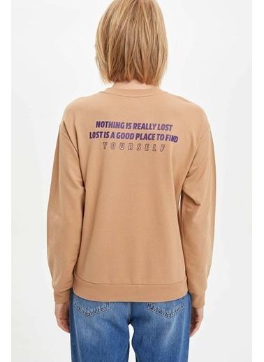 DeFacto Yazı Baskılı Sweatshirt Bej
